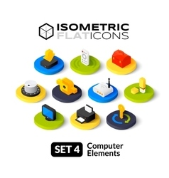 Isometric flat icons set 4 vector