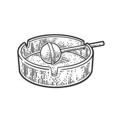 Lollipop ashtray line art sketch vector