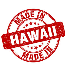 Made in hawaii red grunge round stamp vector