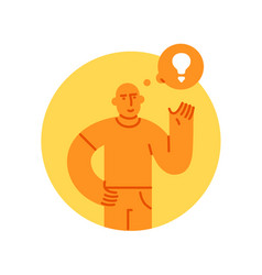 man with light bulb icon concept of creative idea vector image