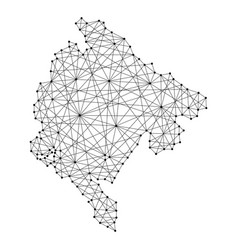 map of montenegro from polygonal black lines vector image