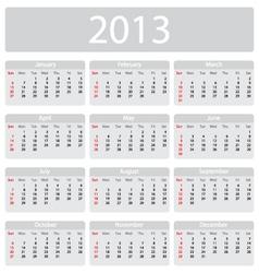 Minimalistic 2013 calendar vector image