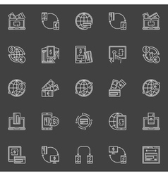 Money transfer line icons vector image
