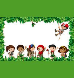 Multicultural children in leaf scene vector
