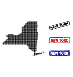 new york state map in halftone dot style with vector image