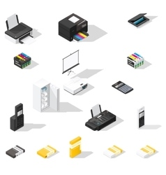 Office detailed isometric icon set vector image