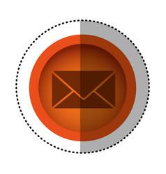 Orange round symbol letter message icon vector