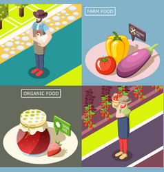 organic food isometric design concept vector image