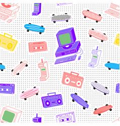 pattern cassettes 80s vector image