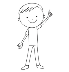 Positive boy pointing a finger upwards vector