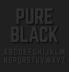 Pure black alphabet letters with shadow vector