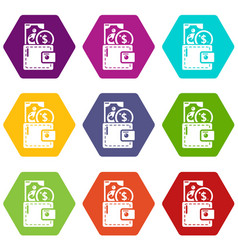 purse icons set 9 vector image