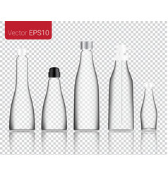 realistic glass food and drink bottle isolated vector image