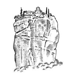 Rock in ancient greece greek ruins landscape vector