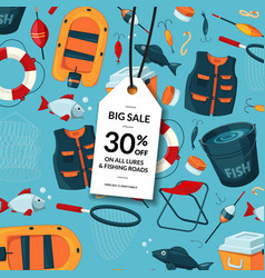 sale background with cartoon fishing vector image
