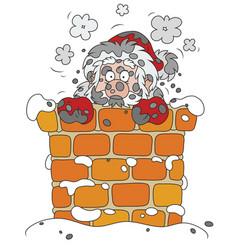 Santa in a sooty chimney vector