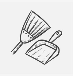 scoop and broom hand drawn sketch icon vector image