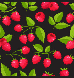 seamless pattern with cartoon raspberries vector image