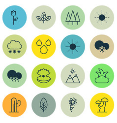 Set 16 harmony icons includes cold climate vector