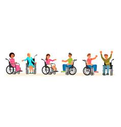 Set disabled people in wheelchair vector