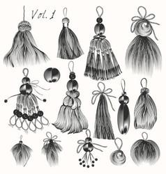 Set engraved tussles for design vol2 vector