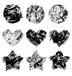 Set of grunge black color figures vector image