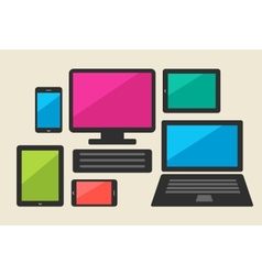Set of tablet computers and smart phone vector