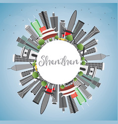 Shenzhen skyline with gray buildings blue sky and vector