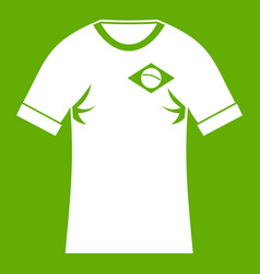 shirt with flag of brazil sign icon green vector image