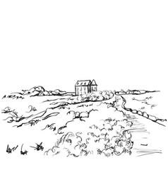 Sketching nature landscape fields vector