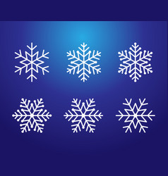 snowflake white color line art set on blue vector image