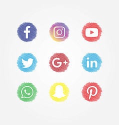 Social media icons set scribble style vector