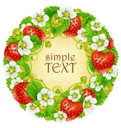 strawberry circle frame red berry vector image