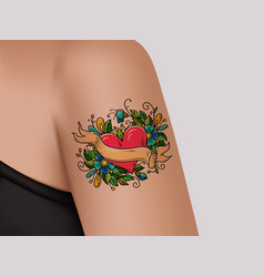 tattoo on shoulder heart with flowers and ribbon vector image