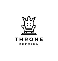 Throne crown king logo icon vector