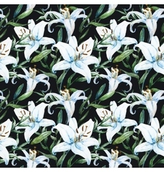 Tropical watercolor lilly pattern vector