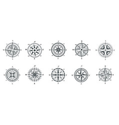 vintage compass nautical wind rose compasses vector image