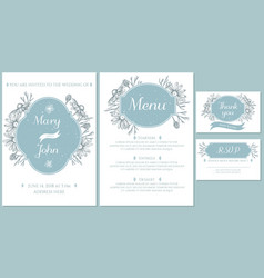 Wedding invitation card with light blue chamomile vector