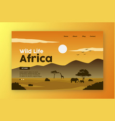 wild life landing page africa nature vector image