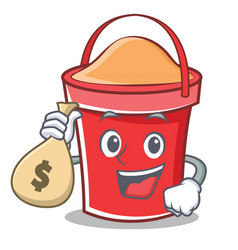 With money bag bucket character cartoon style vector