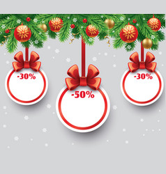 christmas sale gift card with red ribbon vector image vector image