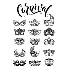 collection of carnival masquerade masks vector image