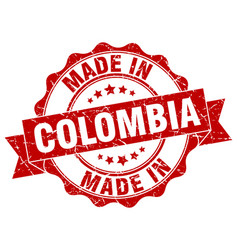 made in colombia round seal vector image vector image