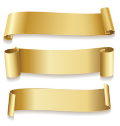 ribbons golden isolated on white background vector image vector image