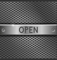 steel long plate open on perforated background vector image vector image