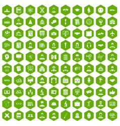 100 intelligent icons hexagon green vector
