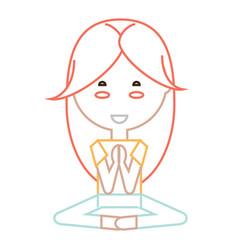 cartoon woman doing yoga vector image