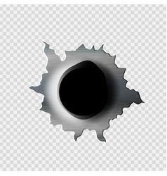 ragged bullet hole torn in ripped metal vector image vector image