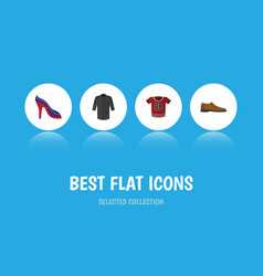 Flat icon dress set of male footware heeled shoe vector