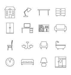 furniture and home decor icons vector image